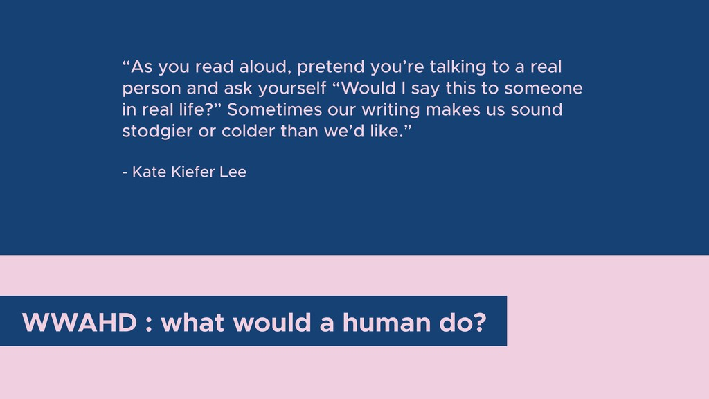 """WWAHD : what would a human do? """"As you read alo..."""
