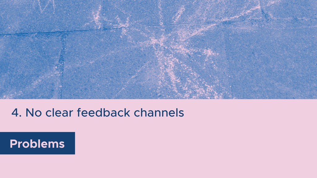 4. No clear feedback channels Problems
