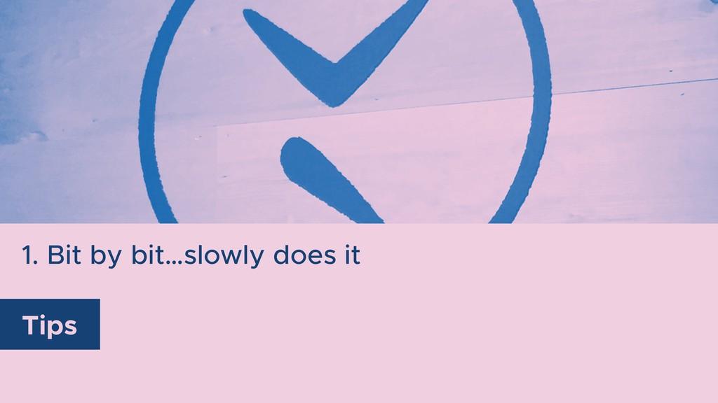 1. Bit by bit…slowly does it Tips