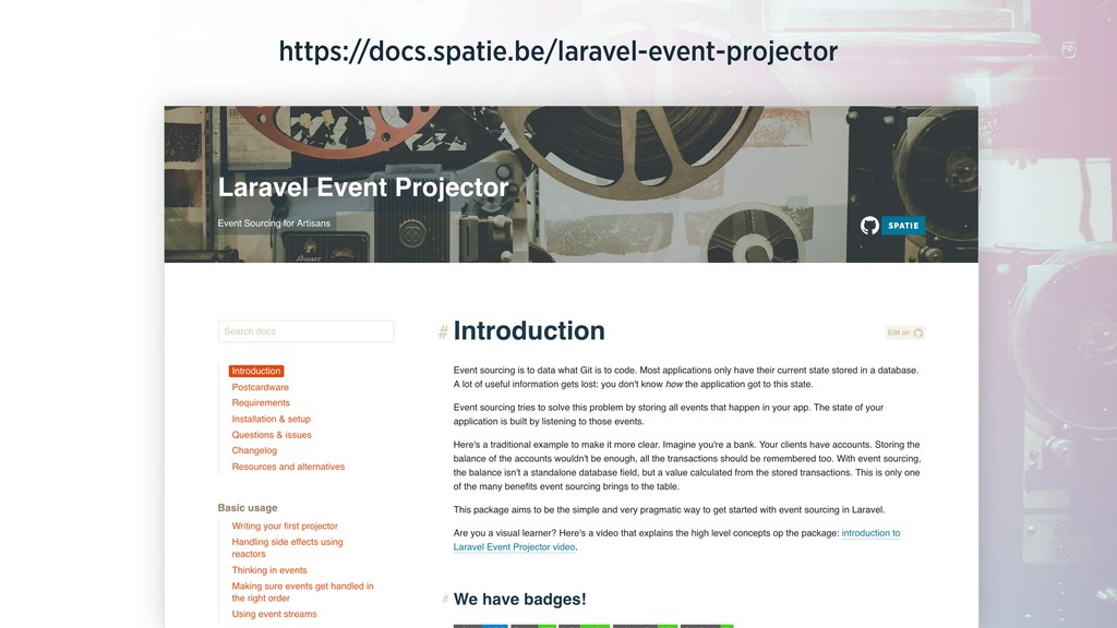 https://docs.spatie.be/laravel-event-projector