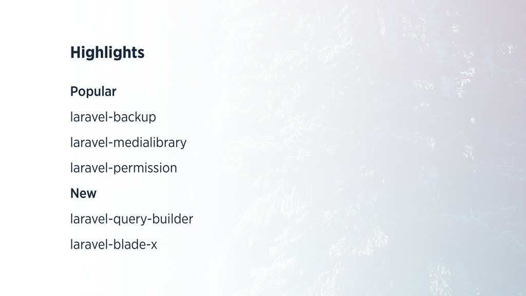 Highlights Popular laravel-backup laravel-media...