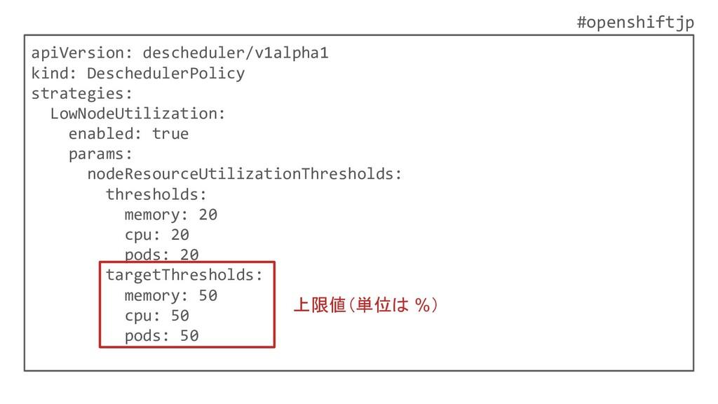 #openshiftjp apiVersion: descheduler/v1alpha1 k...
