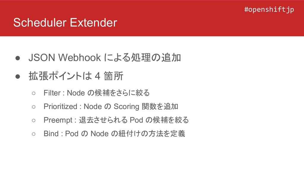#openshiftjp #openshiftjp Scheduler Extender ● ...
