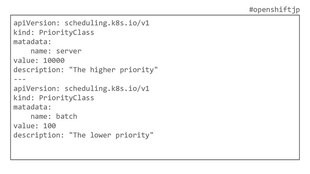 #openshiftjp apiVersion: scheduling.k8s.io/v1 k...