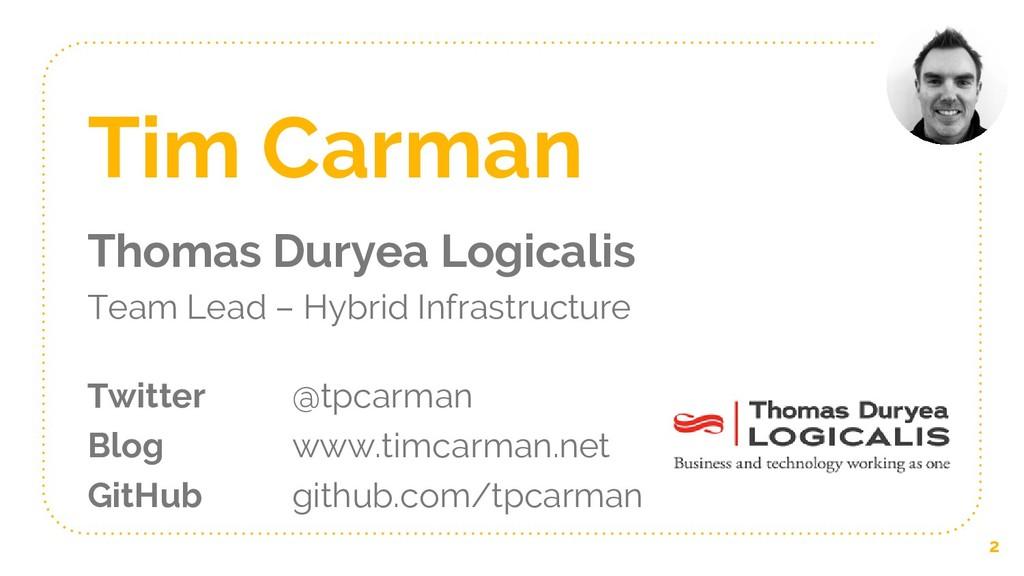 Tim Carman Thomas Duryea Logicalis Team Lead – ...