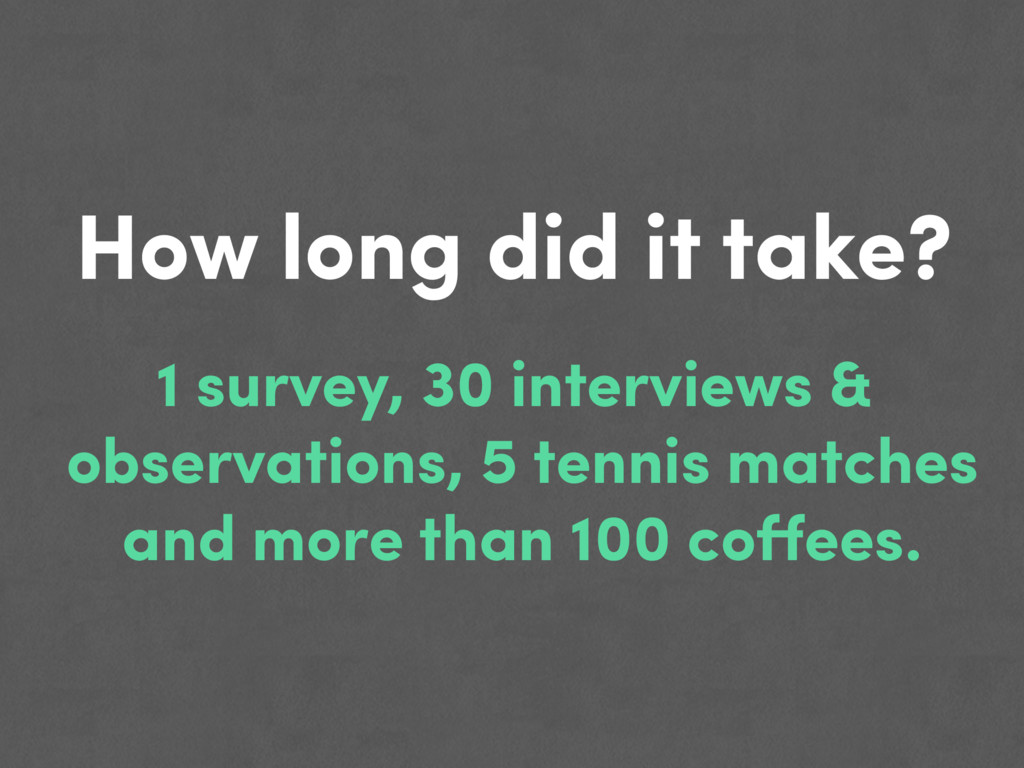 How long did it take? 1 survey, 30 interviews &...