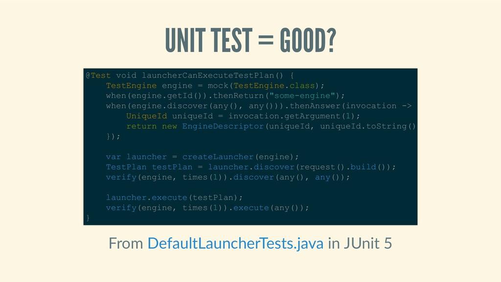 UNITTEST=GOOD? From inJUnit5 @Testvoid...