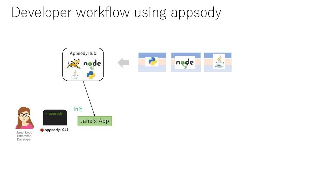 AppsodyHub init Jane's App Developer workflow us...