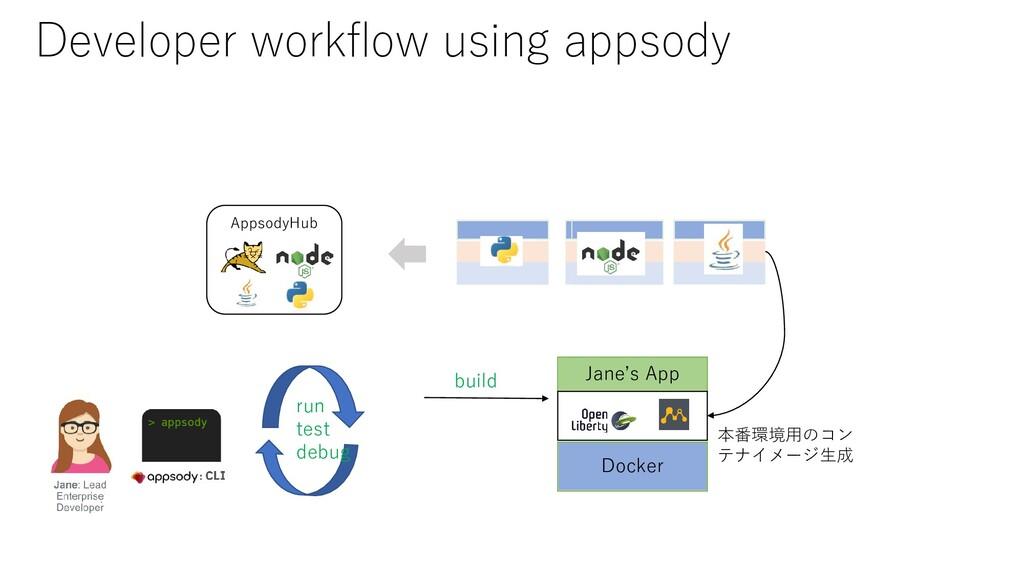 AppsodyHub run test debug build Jane's App Dock...