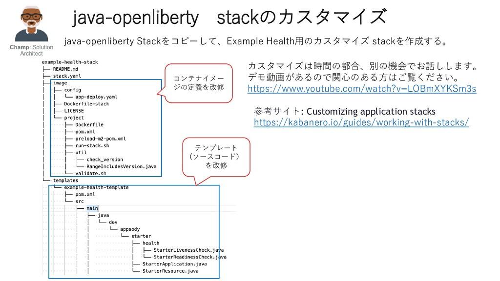 java-openliberty stackのカスタマイズ 参考サイト: Customizin...