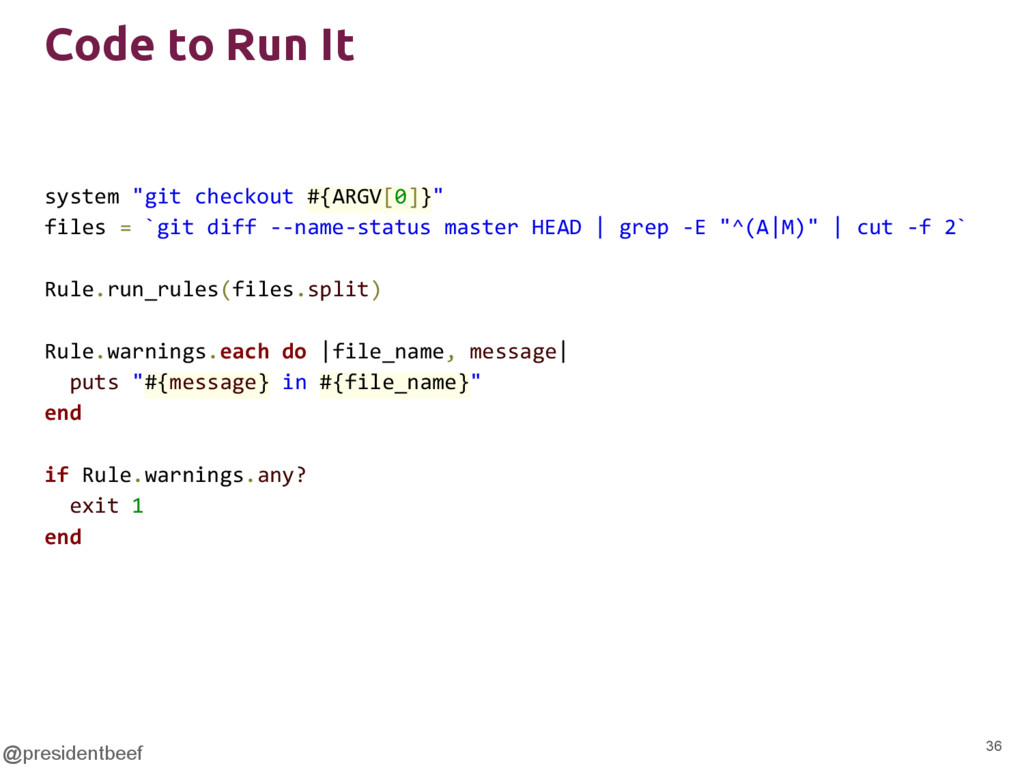"""@presidentbeef Code to Run It system """"git check..."""