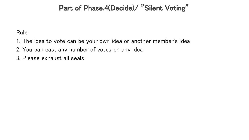 "Part of Phase.4(Decide)/ ""Silent Voting""