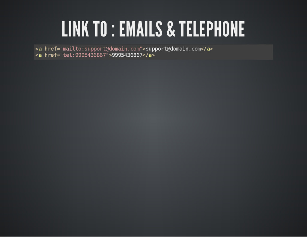 "LINK TO : EMAILS & TELEPHONE < a h r e f = "" m ..."