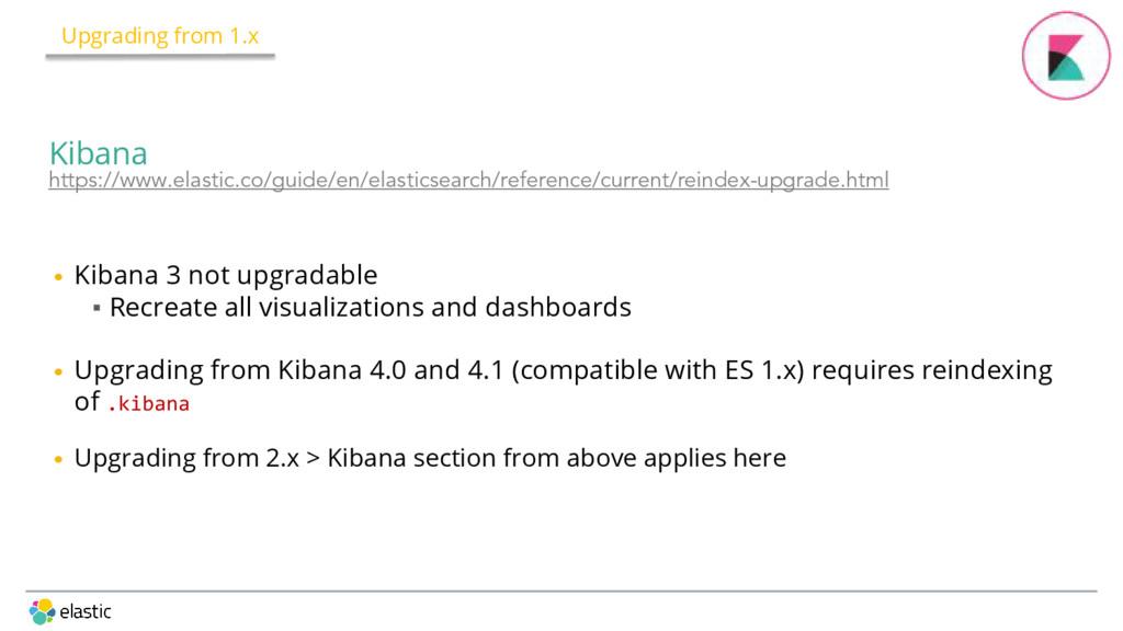 • Kibana 3 not upgradable ▪ Recreate all visual...