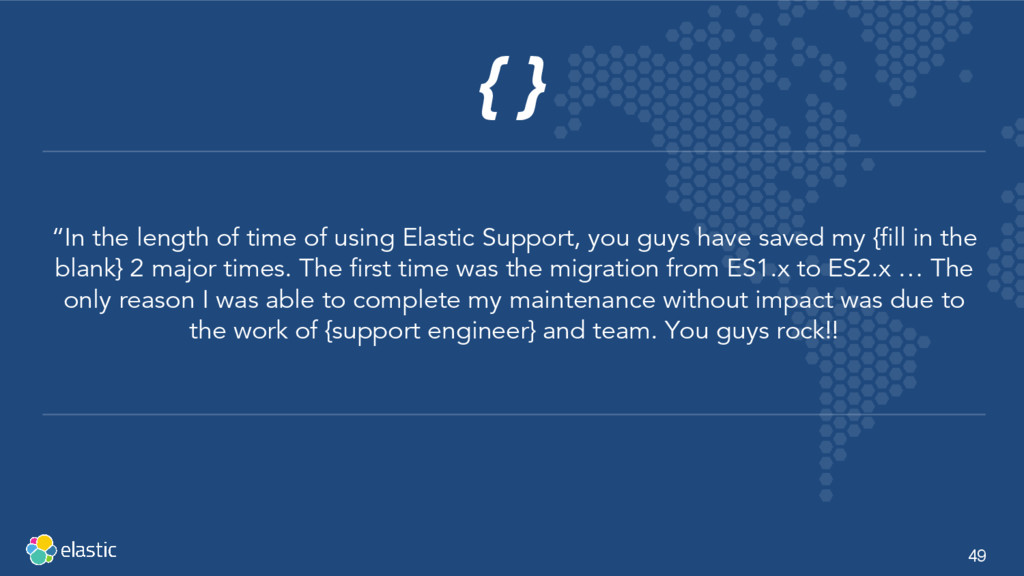 """49 { } """"In the length of time of using Elastic ..."""