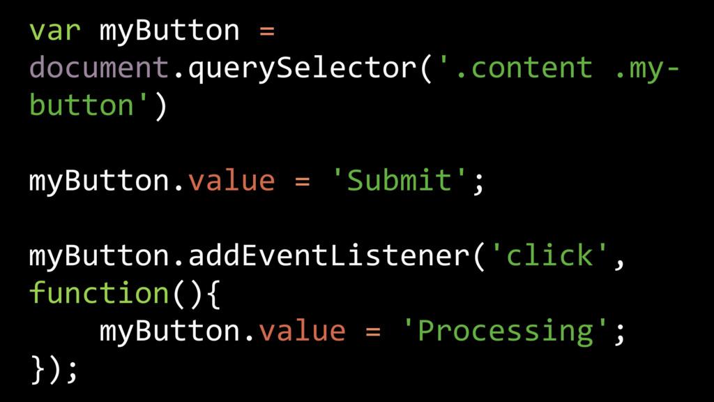 var myButton = document.querySelector('.content...