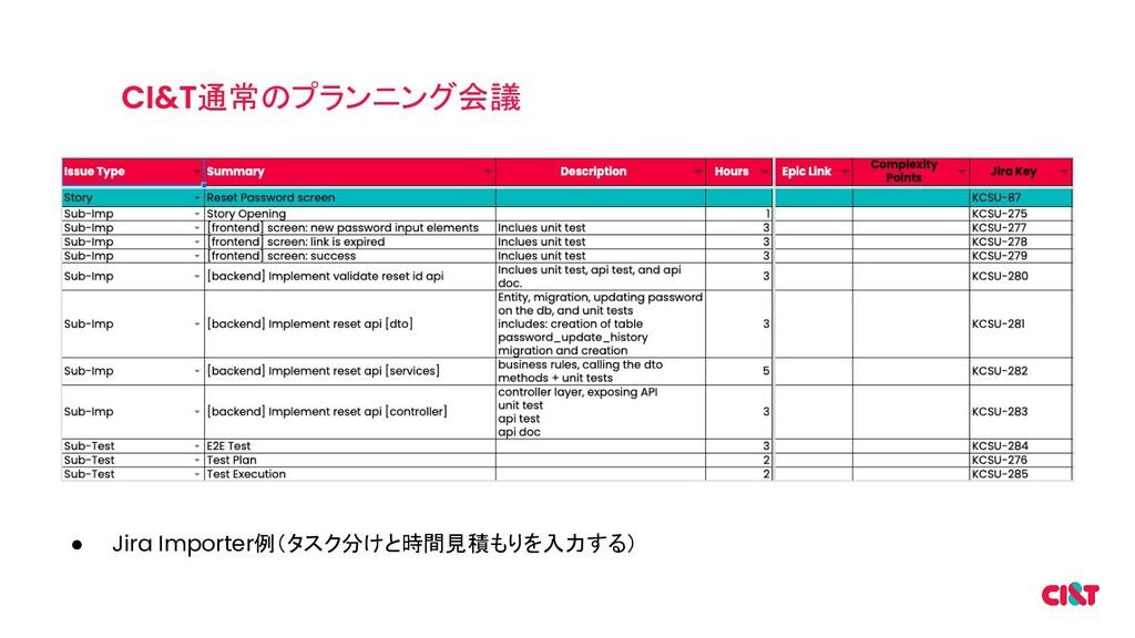 通常のプランニング会議 ● Jira Importer例(タスク分けと時間見積もりを入力する)