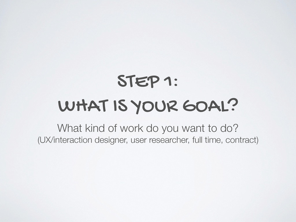 STEP 1: WHAT IS YOUR GOAL? What kind of work do...