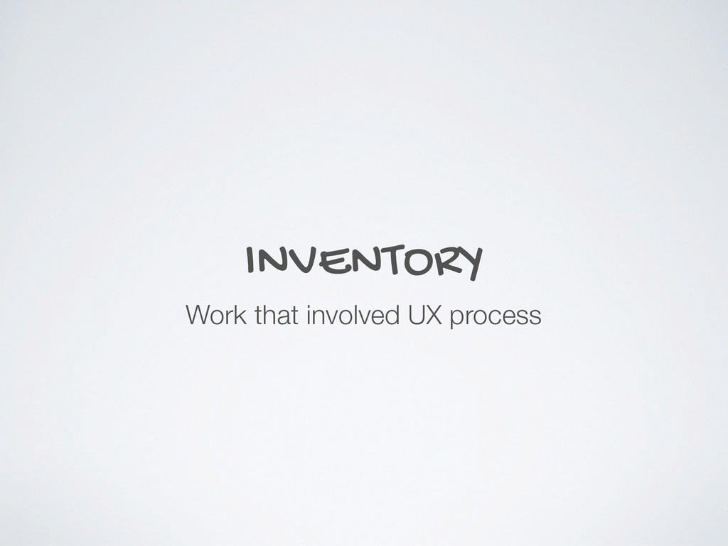 INVENTORY Work that involved UX process