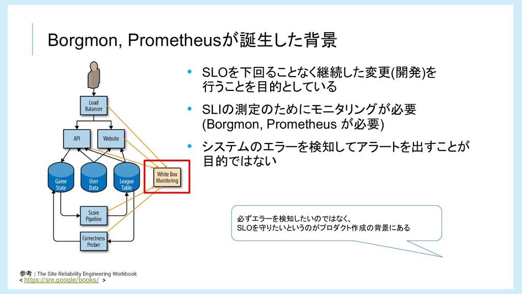 Borgmon, Prometheusが誕生した背景 参考 The Site Reliabil...