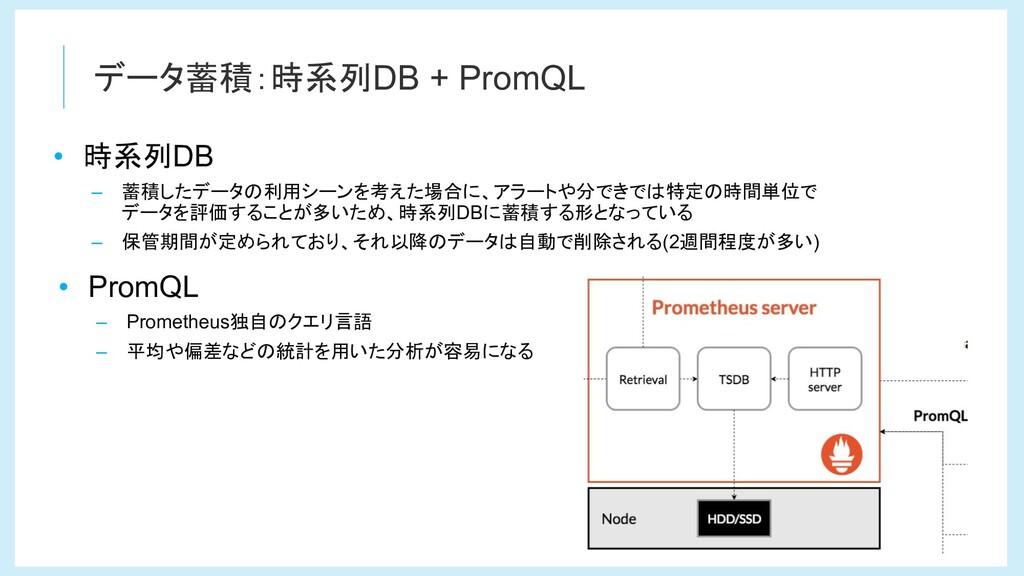 データ蓄積:時系列DB + PromQL • 時系列DB – 蓄積したデータの利用シーンを考え...