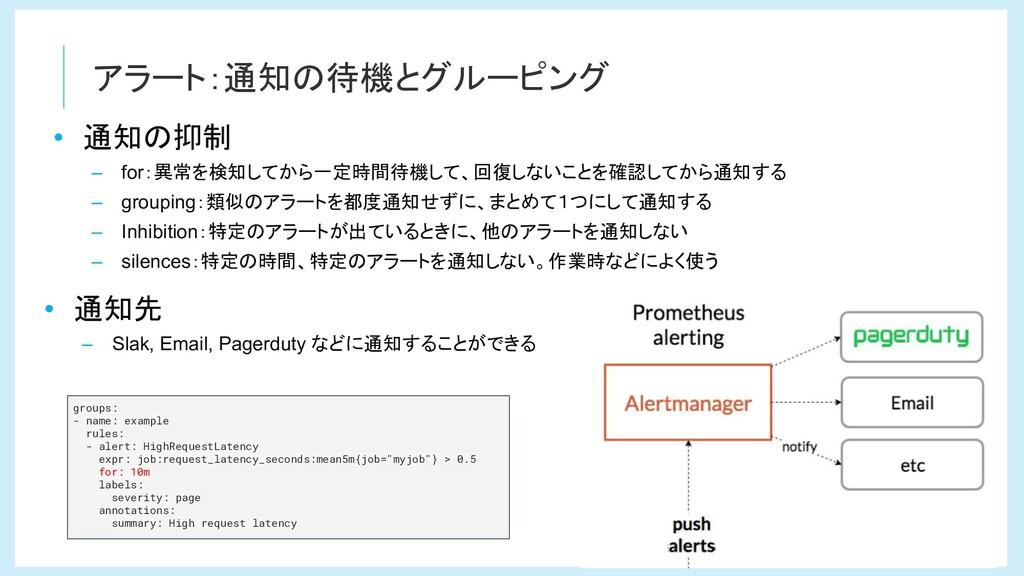 アラート:通知の待機とグルーピング groups: - name: example rules...