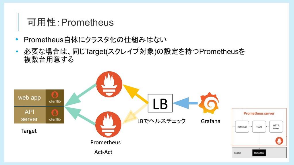 可用性:Prometheus • Prometheus自体にクラスタ化の仕組みはない • 必要...