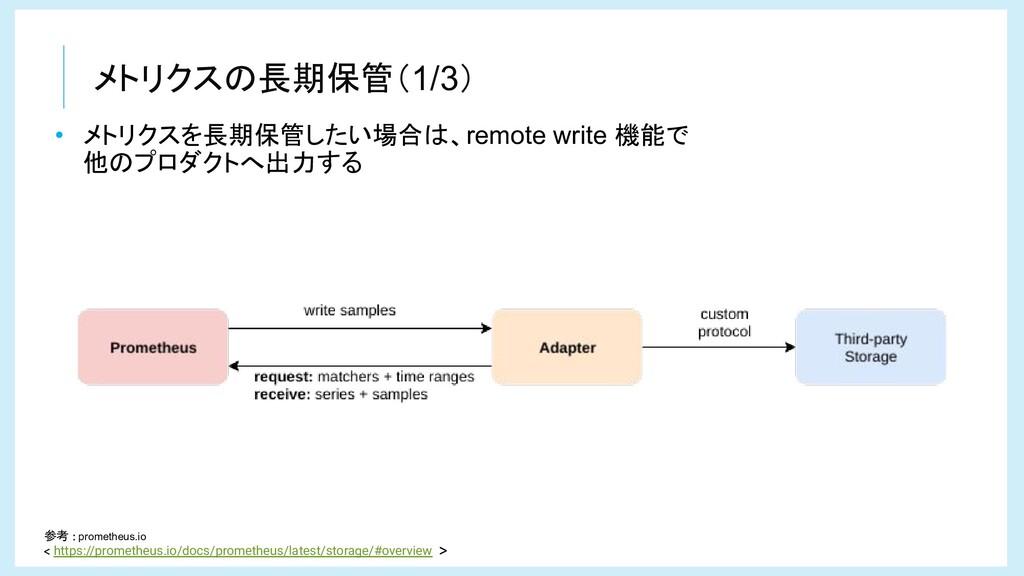 メトリクスの長期保管(1/3) • メトリクスを長期保管したい場合は、remote write...