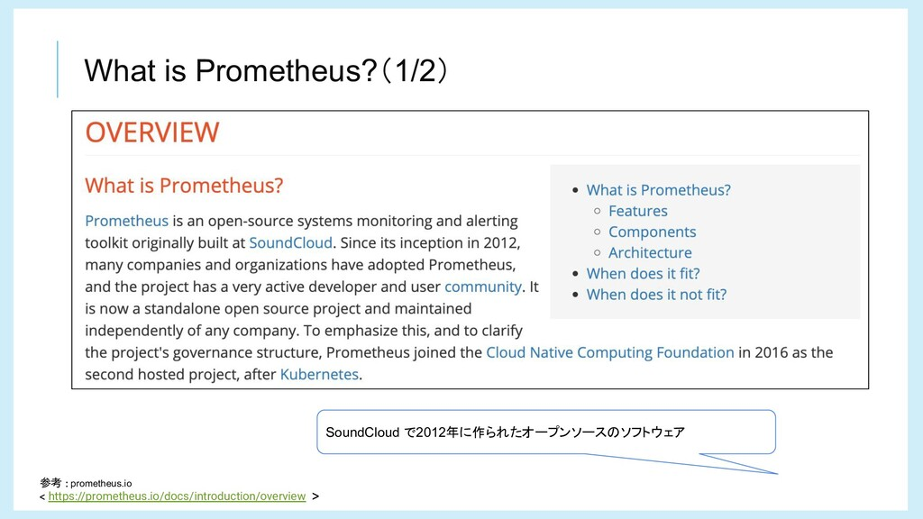 What is Prometheus?(1/2) 参考 prometheus.io https...
