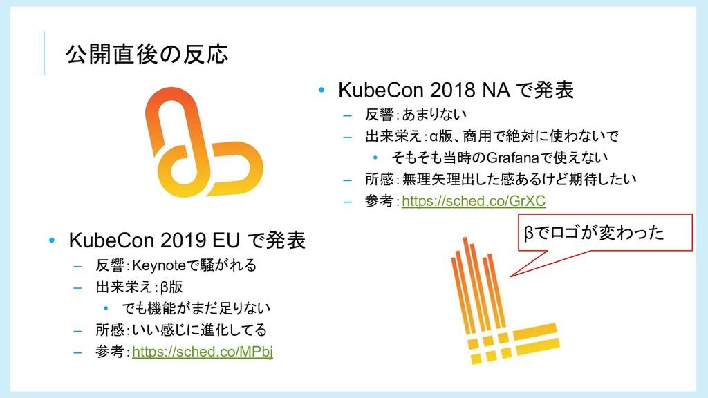 公開直後の反応 • KubeCon 2018 NA で発表 – 反響:あまりない – 出来栄え...