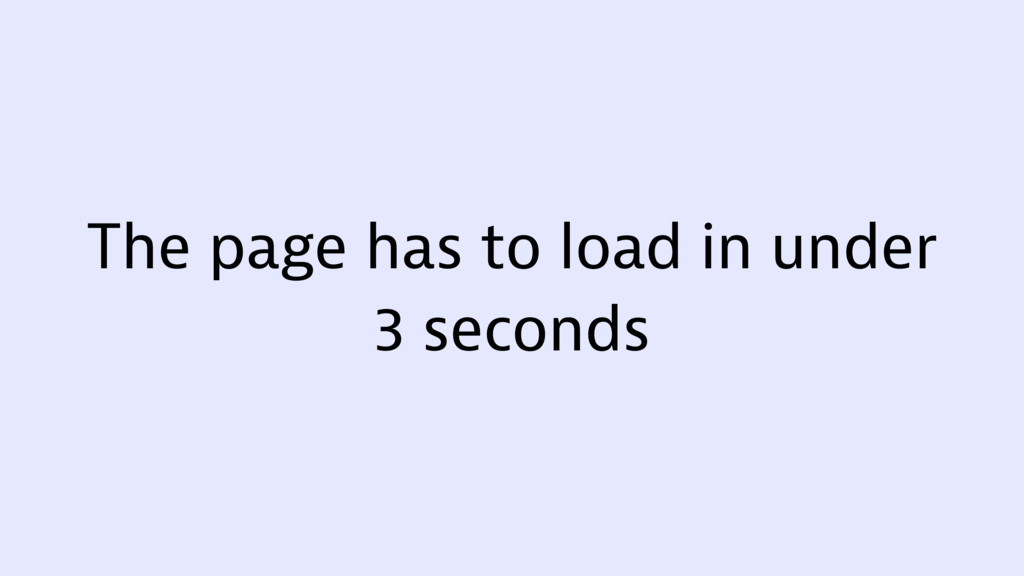 The page has to load in under 3 seconds