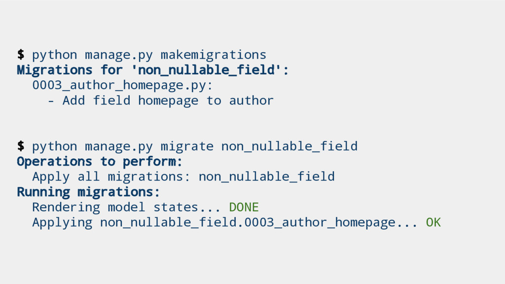 $ python manage.py makemigrations Migrations fo...