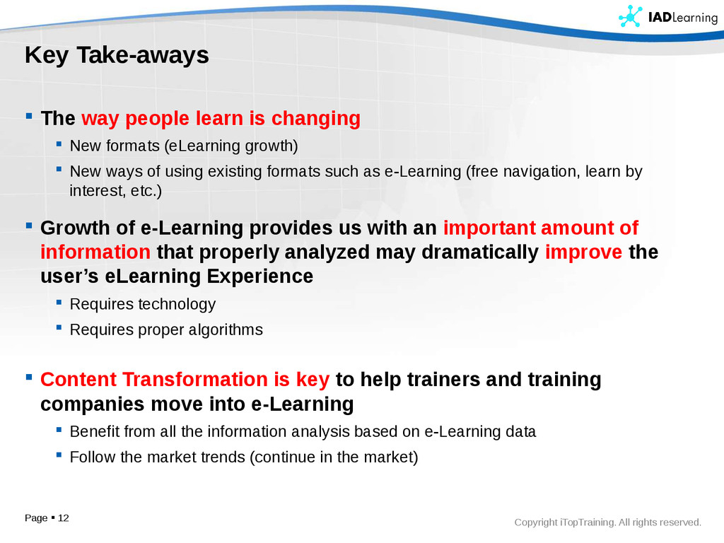 Copyright iTopTraining. All rights reserved. Ke...