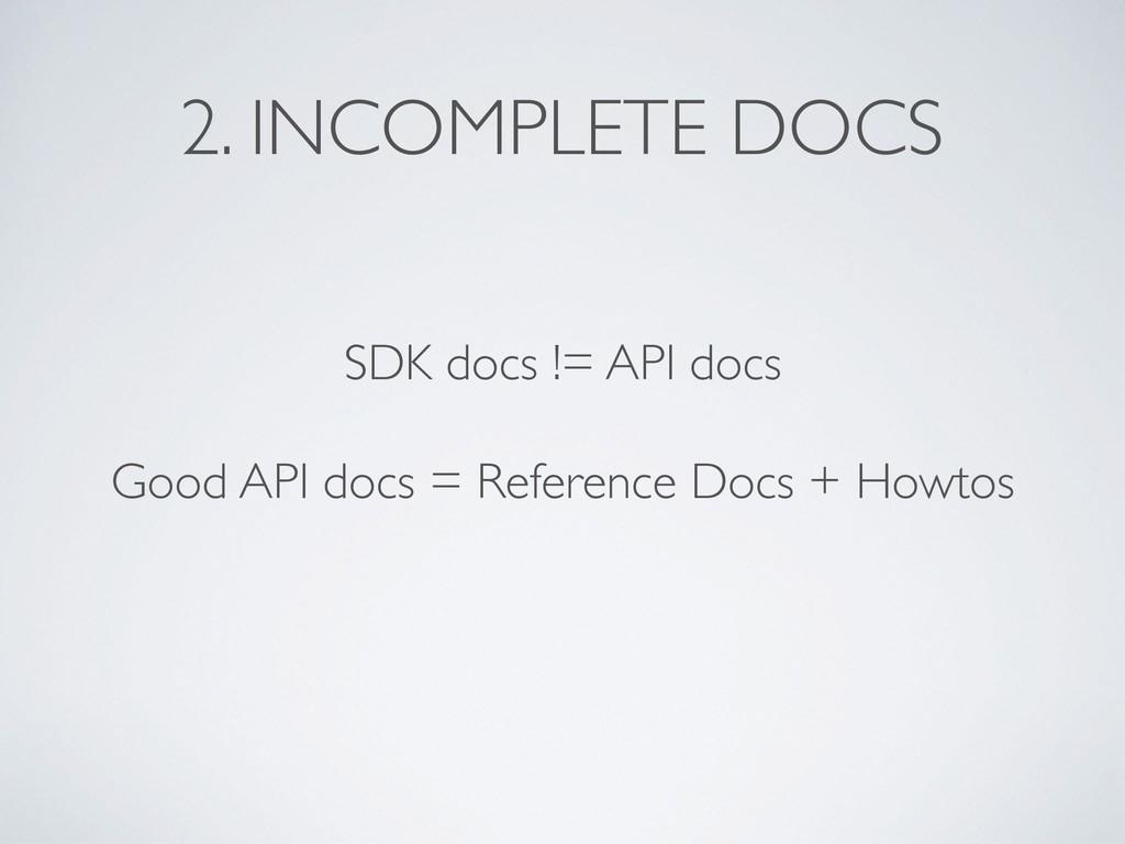 SDK docs != API docs Good API docs = Reference ...