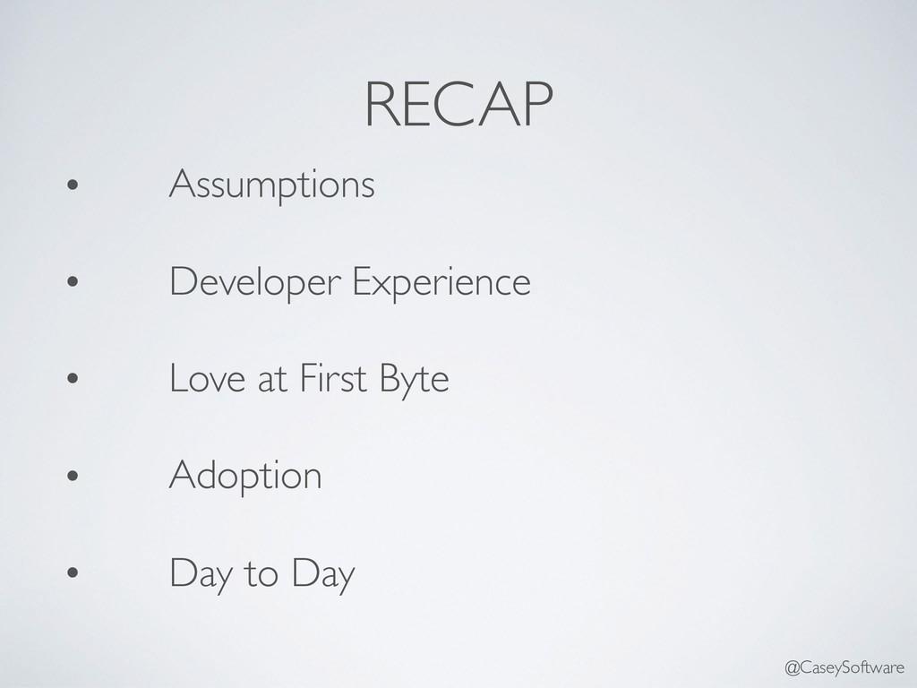 RECAP • Assumptions • Developer Experience • Lo...