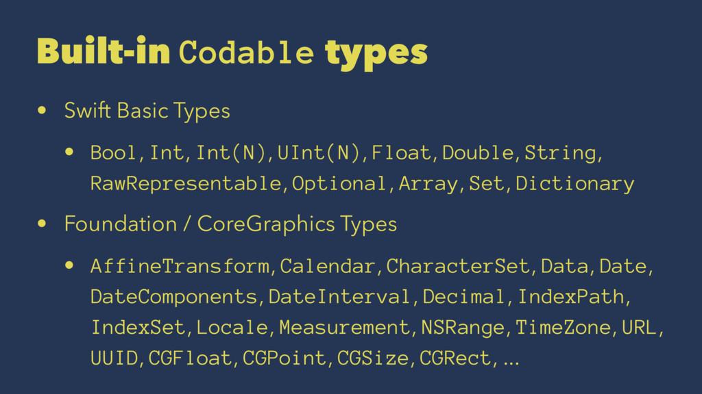 Built-in Codable types • Swift Basic Types • Bo...