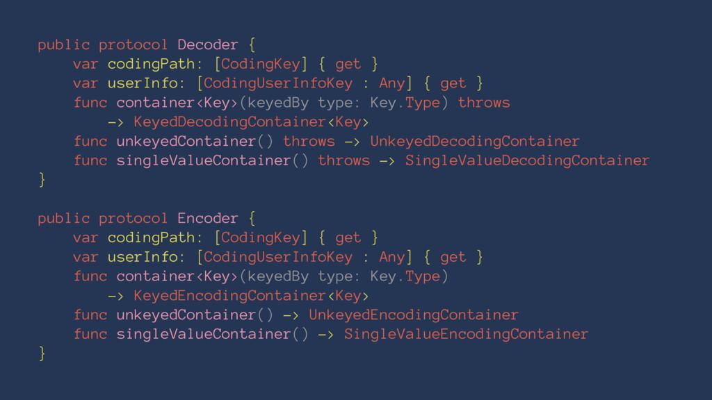 public protocol Decoder { var codingPath: [Codi...