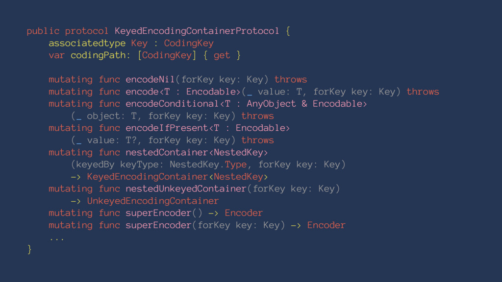 public protocol KeyedEncodingContainerProtocol ...