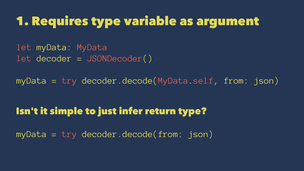 1. Requires type variable as argument let myDat...