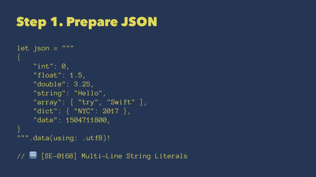 """Step 1. Prepare JSON let json = """""""""""" { """"int"""": 0,..."""