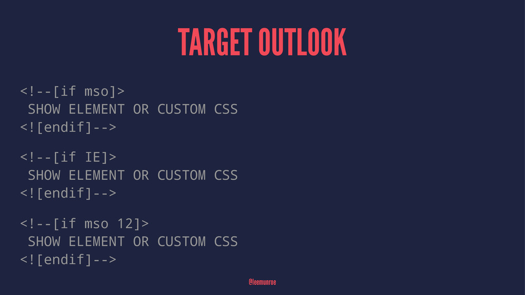 TARGET OUTLOOK <!--[if mso]> SHOW ELEMENT OR CU...
