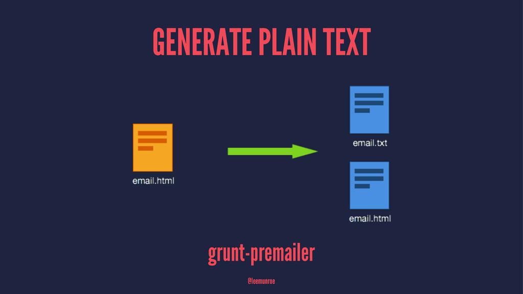 GENERATE PLAIN TEXT grunt-premailer @leemunroe