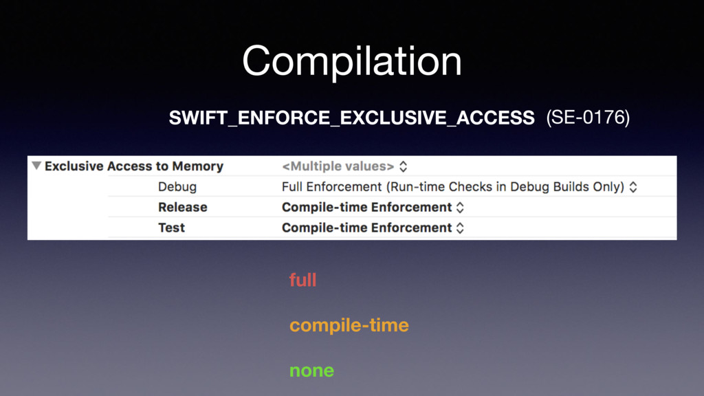 Compilation SWIFT_ENFORCE_EXCLUSIVE_ACCESS full...