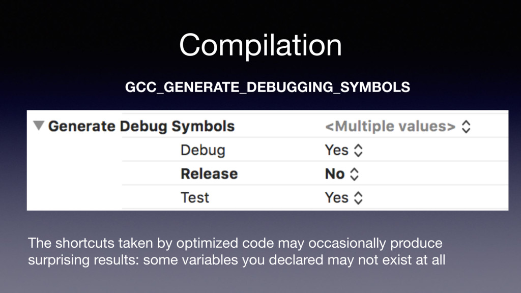 Compilation GCC_GENERATE_DEBUGGING_SYMBOLS The ...
