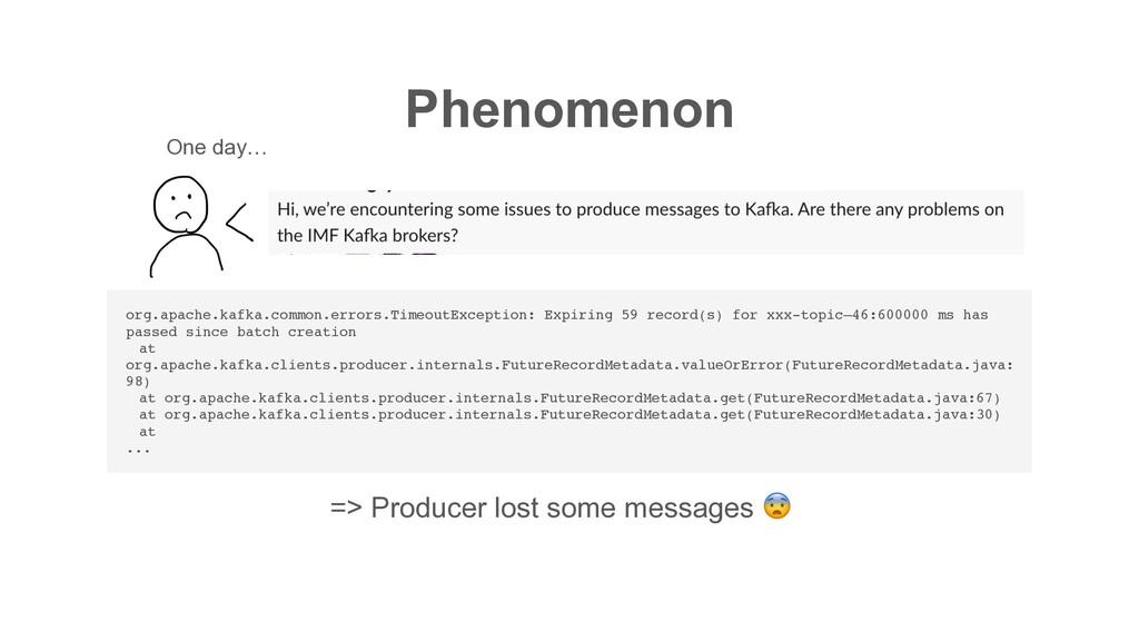 Phenomenon org.apache.kafka.common.errors.Timeo...