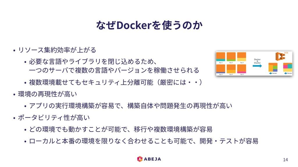 14 なぜDockerを使うのか • リソース集約効率が上がる • 必要な⾔語やライブラリを閉...