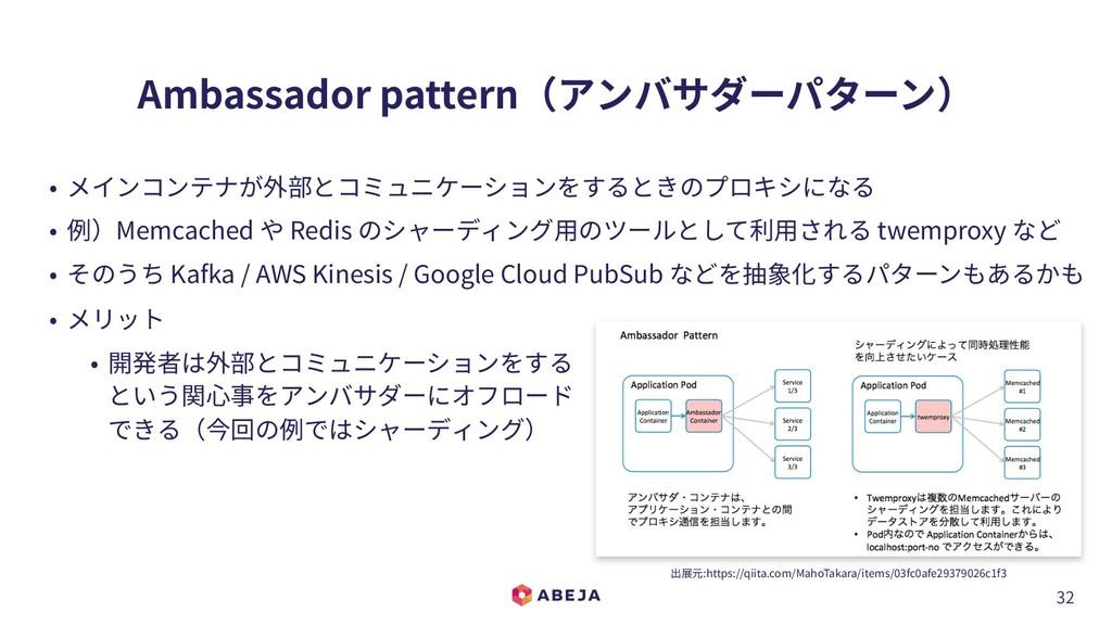32 Ambassador pattern(アンバサダーパターン) • メインコンテナが外部と...