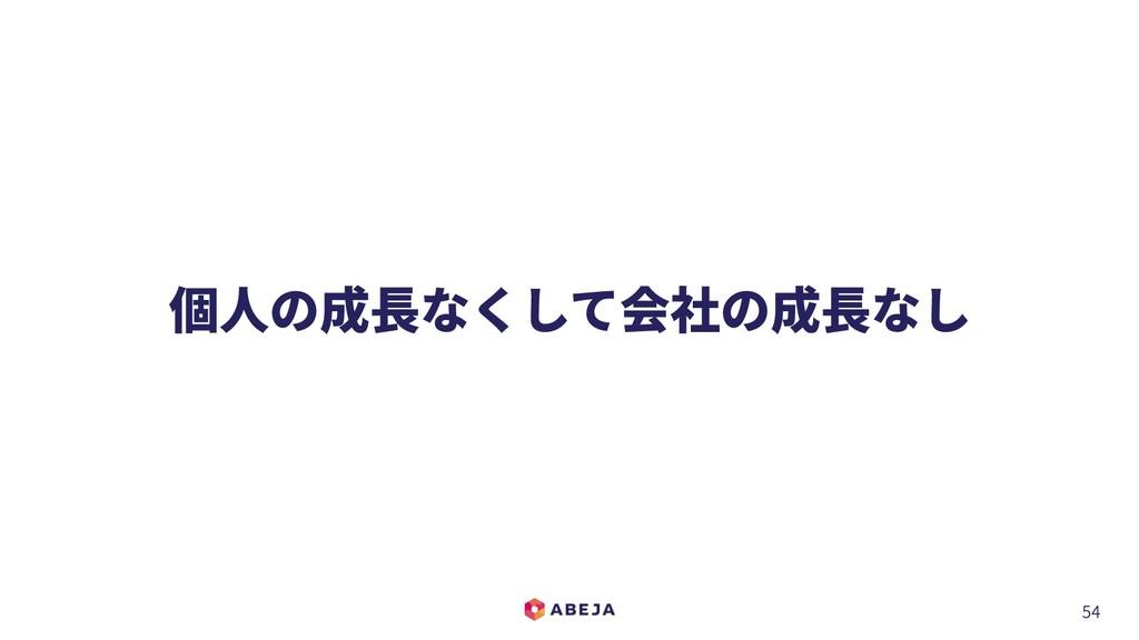 54 個⼈の成⻑なくして会社の成⻑なし