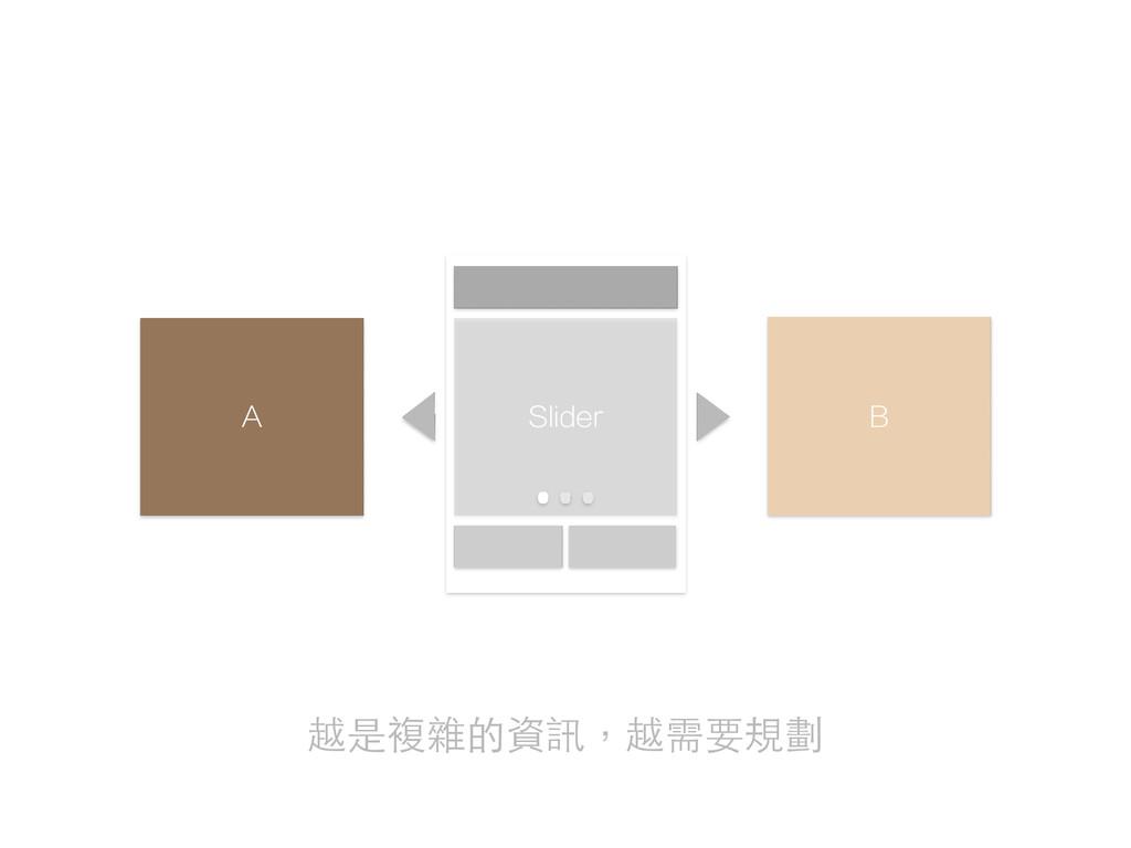 A B Slider 越是複雜的資訊,越需要規劃