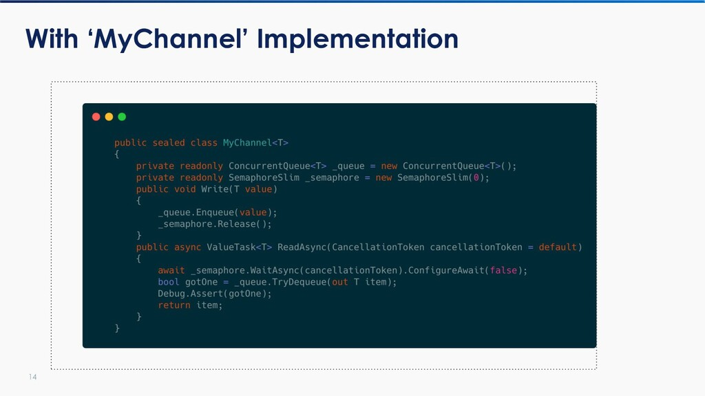 14 With 'MyChannel' Implementation